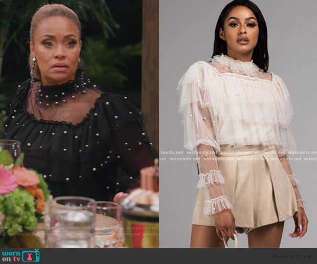 Oh The Drama Sheer Blouse by Akira worn by Gizelle Bryant  on The Real Housewives of Potomac