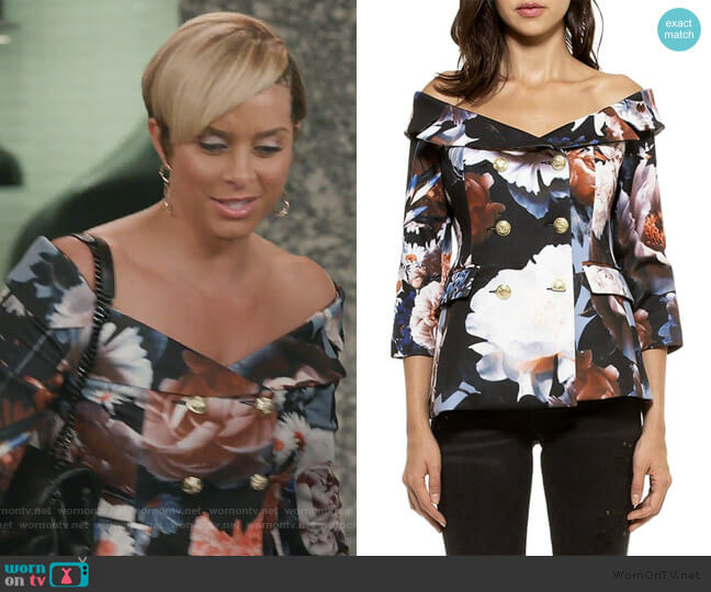 Karina Floral Jacket by Alexia Admor worn by Robyn Dixon  on The Real Housewives of Potomac