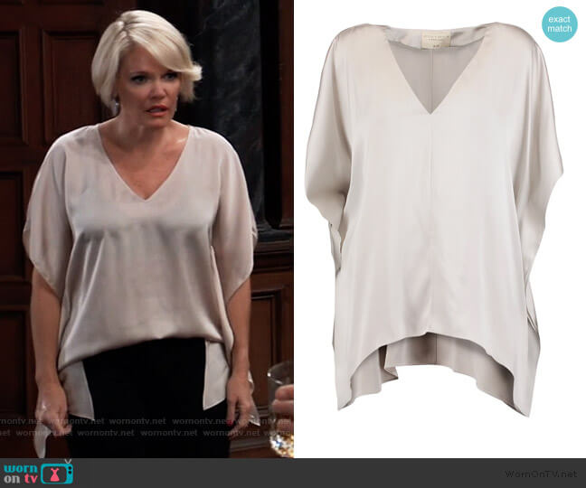 Nola draped washed stretch-silk top by Alice + Olivia worn by Ava Jerome (Maura West) on General Hospital
