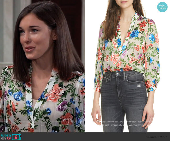 Sheila Floral Split Neck Blouse by Alice + Olivia worn by Willow Tait (Katelyn MacMullen) on General Hospital