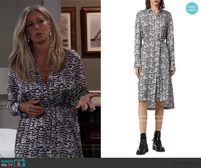 Anya Printed Shirtdress by All Saints worn by Carly Corinthos (Laura Wright) on General Hospital