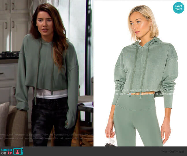 Washed Edge Hoodie by alo worn by Steffy Forrester (Jacqueline MacInnes Wood) on The Bold & the Beautiful