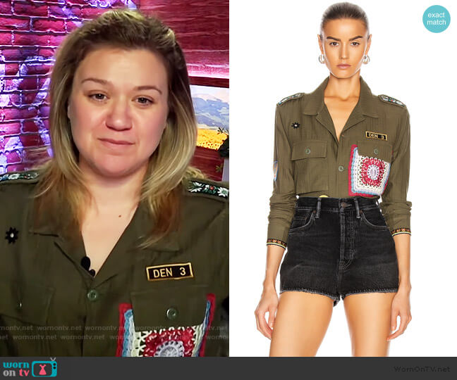 Crotchet Patch Military Top by Amiri worn by Kelly Clarkson  on The Kelly Clarkson Show