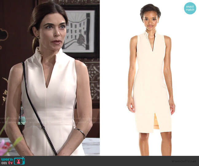Antoinette Sleeveless Sheath Dress by Black Halo worn by Victoria Newman (Amelia Heinle) on The Young & the Restless
