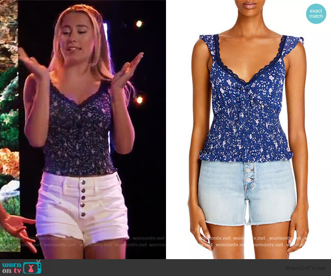 Abstract Dot Print Smocked Top by Aqua worn by Josslyn Jacks (Eden McCoy) on General Hospital