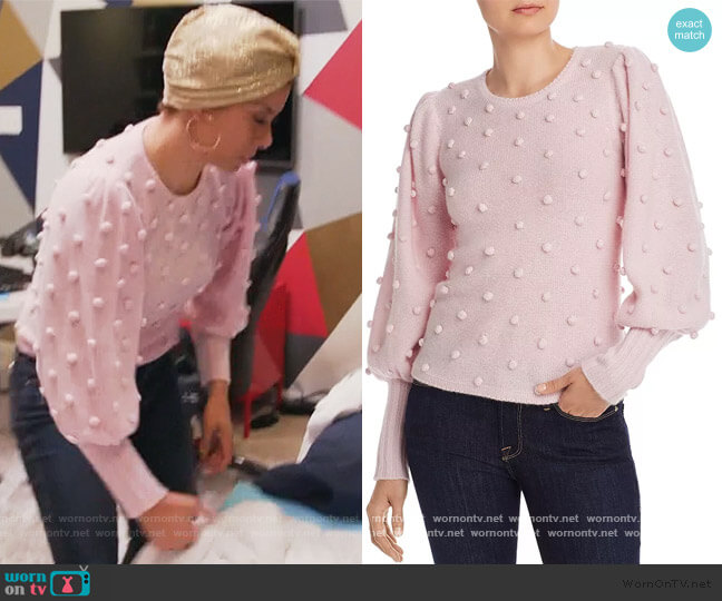 Puff-Sleeve Popcorn Cashmere Sweater by Aqua Cashmere worn by Robyn Dixon  on The Real Housewives of Potomac