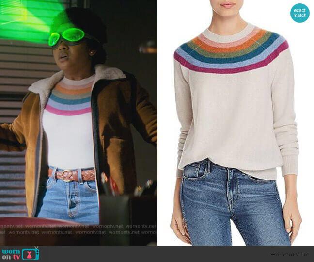 Rainbow-Stripe Cashmere Sweater by Aqua worn by Beth Chapel (Anjelika Washington) on Stargirl