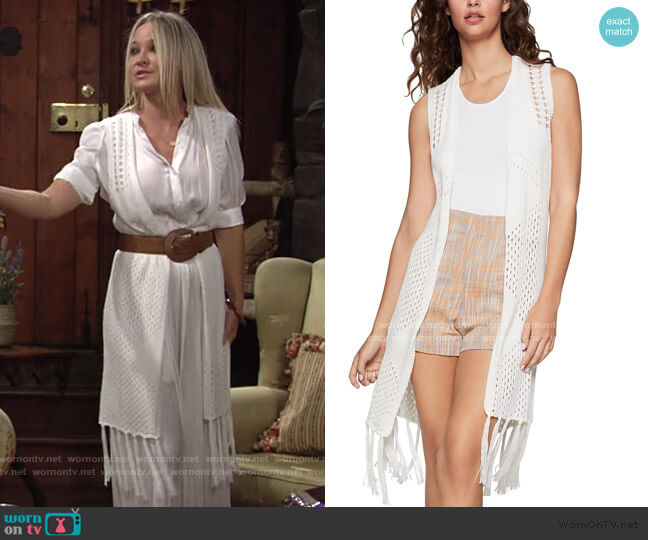 Fringe-Trim Knit Vest by BCBGeneration worn by Sharon Collins (Sharon Case) on The Young & the Restless