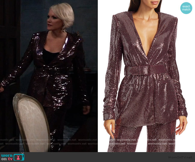 Sequin Belted Jacket and Pants by Badgley Mishka worn by Ava Jerome (Maura West) on General Hospital