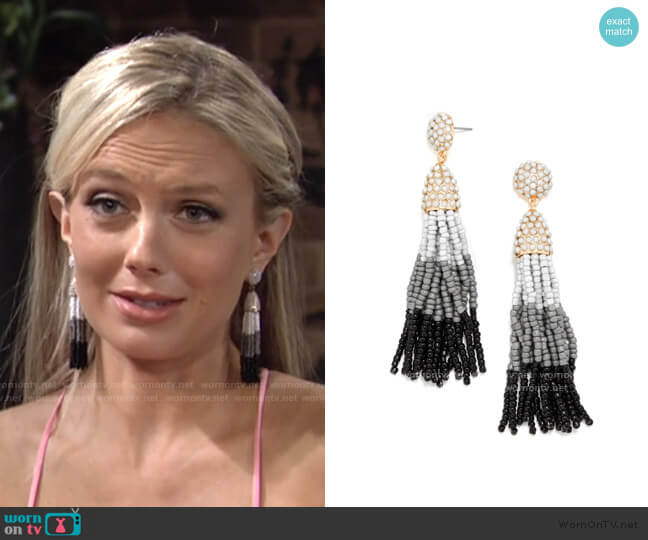 Beaded Tassel Earrings by BaubleBar worn by Abby Newman (Melissa Ordway) on The Young & the Restless