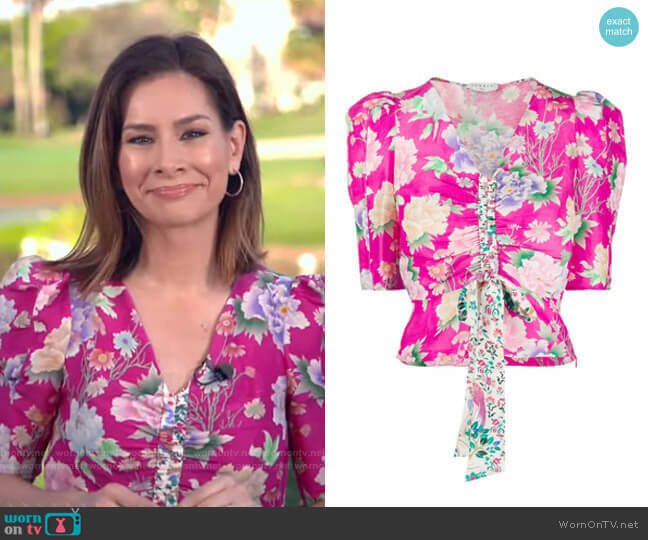 Becky Gathered-Front Top by Sandro worn by Rebecca Jarvis  on Good Morning America