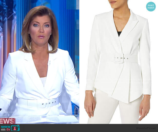 Belted Asymmetrical Crepe Blazer by Tahari ASL worn by Norah O'Donnell  on CBS Evening News