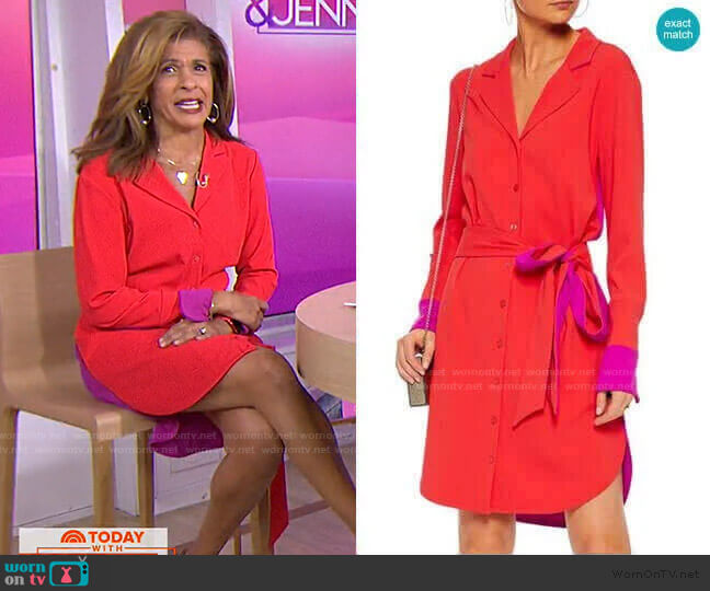 Belted Two-Tone Cady Shirt Dress by Badgley Mischka worn by Hoda Kotb  on Today