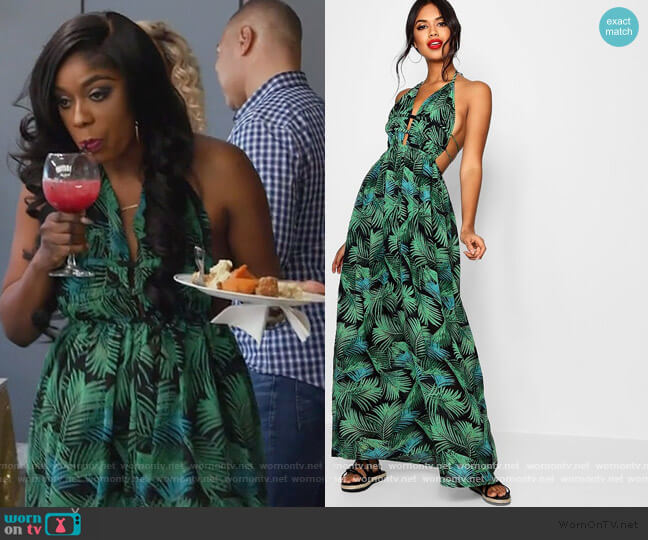 Plunge Front Palm Print Maxi Dress by Boohoo worn by Wendy Osefo  on The Real Housewives of Potomac