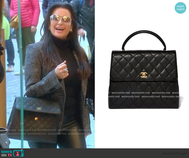 Quilted Caviar Kelly Bag by Chanel worn by Kyle Richards  on The Real Housewives of Beverly Hills
