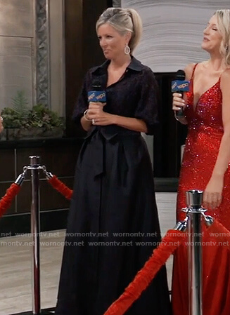 Carly's navy lace Nurse's ball gown on General Hospital
