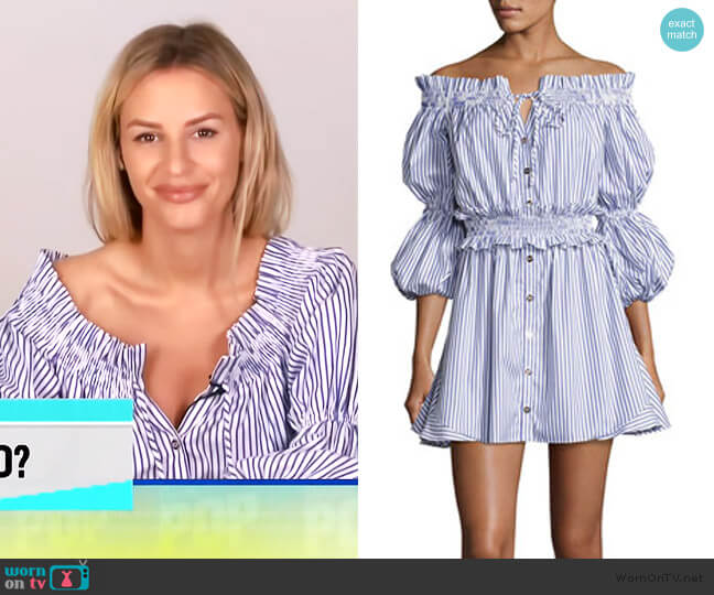Peasant Striped Off-the-Shoulder High-Low Dress by Caroline Constas worn by Morgan Stewart  on E! News