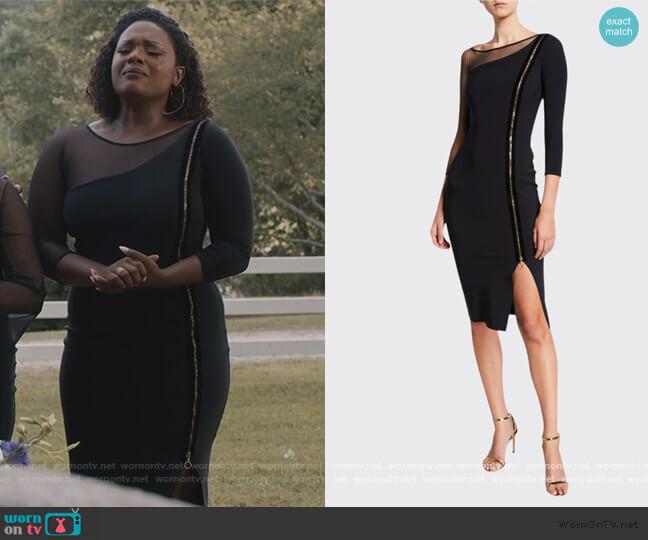 3/4-Sleeve Asymmetric Zip-Front Cocktail Dress w/ Mesh Inset  Deborah Joy Winans on Greenleaf