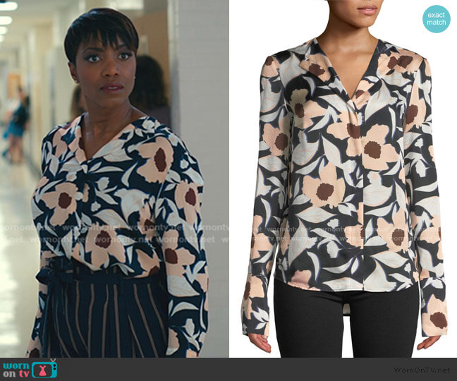 Tarani Floral Silk Charmeuse Button-Down Top by Christian Wijnants worn by Helen Decatur (Heather Headley) on Sweet Magnolias