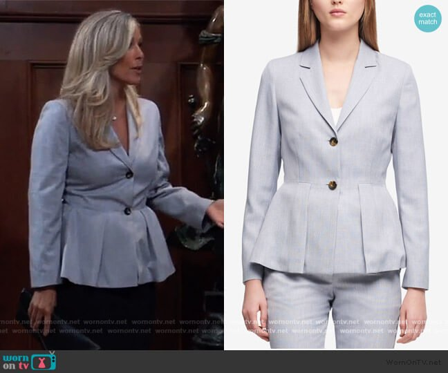 Light Blue Two Button Peplum Jacket by DKNY worn by Carly Corinthos (Laura Wright) on General Hospital
