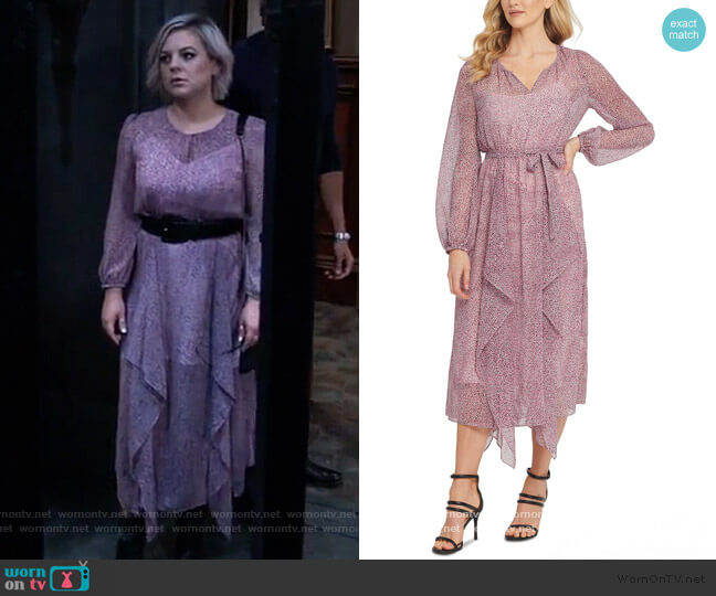 Printed Ruffled Dress by DKNY worn by Maxie Jones (Kirsten Storms) on General Hospital