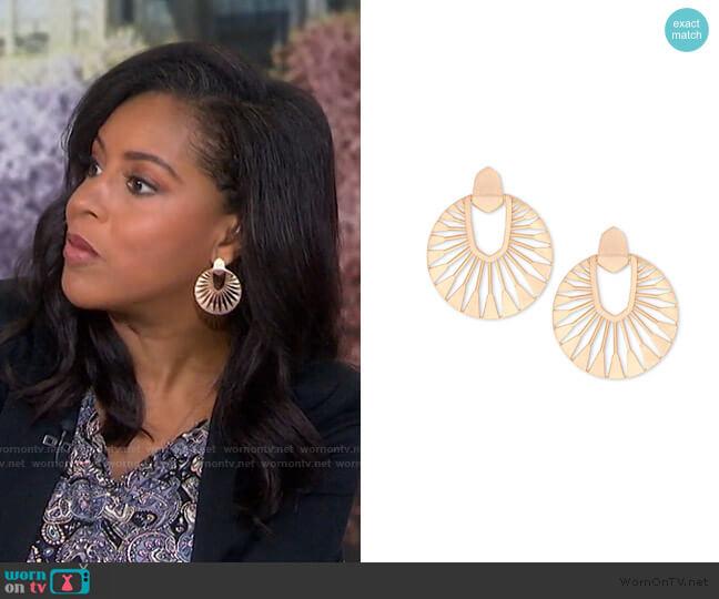 Didi Sunburst Statement Earrings by Kendra Scott worn by Sheinelle Jones  on Today