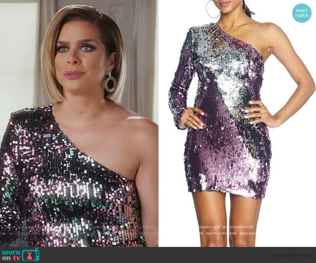 Sophie Sequin One-Shoulder Mini Dress by Dress the Population worn by Robyn Dixon  on The Real Housewives of Potomac