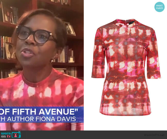 Land Of The Lost Tie-Dye Cotton Top by Ellery worn by Deborah Roberts  on Good Morning America