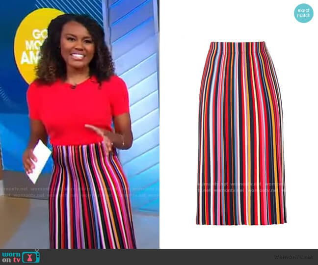 Ellis Striped Skirt by Tory Burch worn by Janai Norman  on Good Morning America