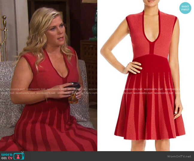 Sleeveless Knit Fit-and-Flare Dress by Emporio Armani worn by Sami Brady (Alison Sweeney) on Days of our Lives
