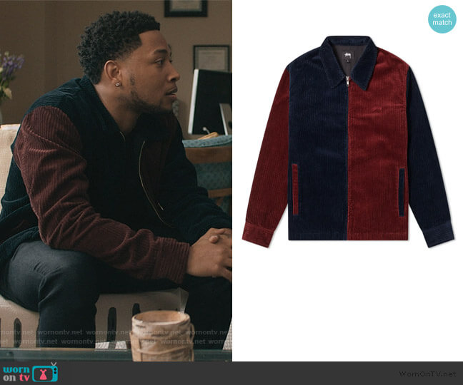 Mix Up Cord Jacket by Stussy worn by Emmett (Jacob Latimore) on The Chi