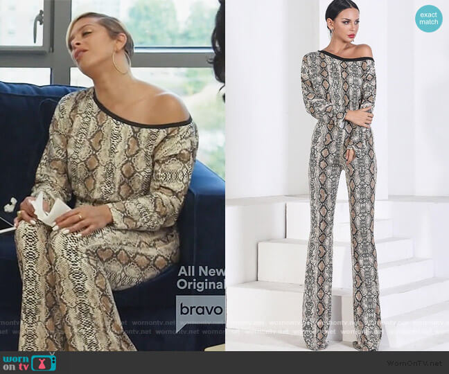 Snakeskin Jumpsuit by Evelyn Belluci worn by Robyn Dixon  on The Real Housewives of Potomac