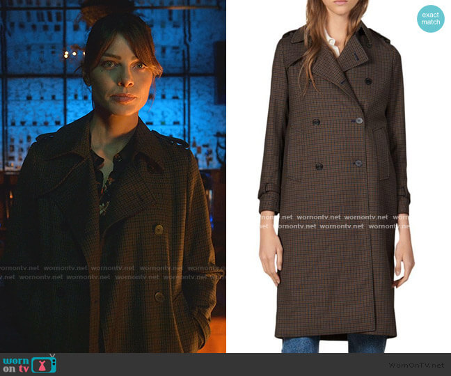 Even Check Trench Coat by Sandro worn by Chloe Decker (Lauren German) on Lucifer