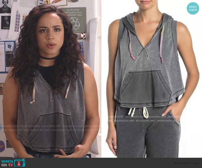 Faded Sleeveless Cropped Activewear Hoodie by FP Movement at Free People worn by Moe Truax (Kiana Madeira) on Trinkets