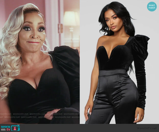 Something To Be Said Bodysuit by Fashion Nova worn by Karen Huger  on The Real Housewives of Potomac