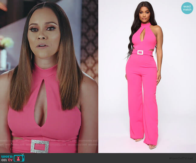 Seduction Is Key Mock Neck Jumpsuit by Fashion Nova worn by Ashley Darby  on The Real Housewives of Potomac