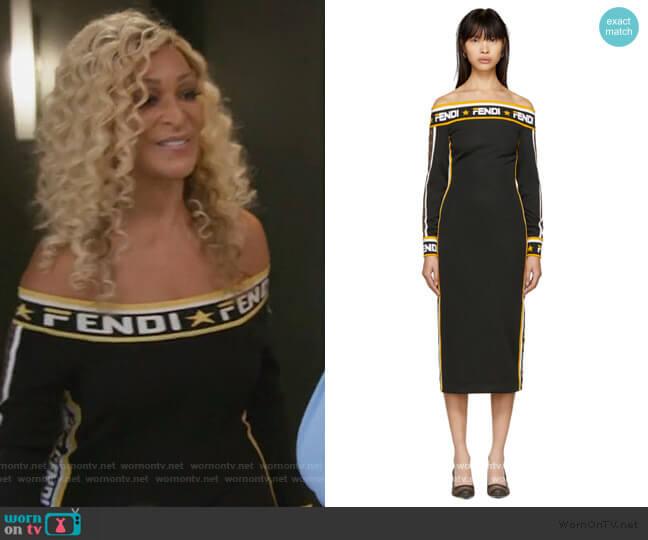 Fendi Mania Off-Shoulder Dress by Fendi worn by Karen Huger  on The Real Housewives of Potomac