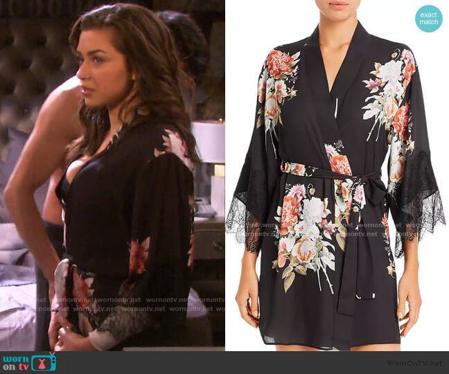 Delphine Printed Kimono Robe by Flora Nikrooz worn by Ciara Brady (Victoria Konefal) on Days of our Lives