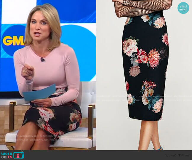 Floral Pencil Skirt by Zara worn by Amy Robach  on Good Morning America