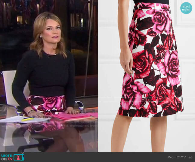 Floral-Print Skirt by Prada worn by Savannah Guthrie  on Today