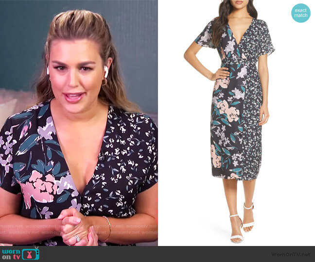 Mixed Floral Print Button Front Wrap Dress by Forest Lily worn by Carissa Loethen Culiner  on E! News
