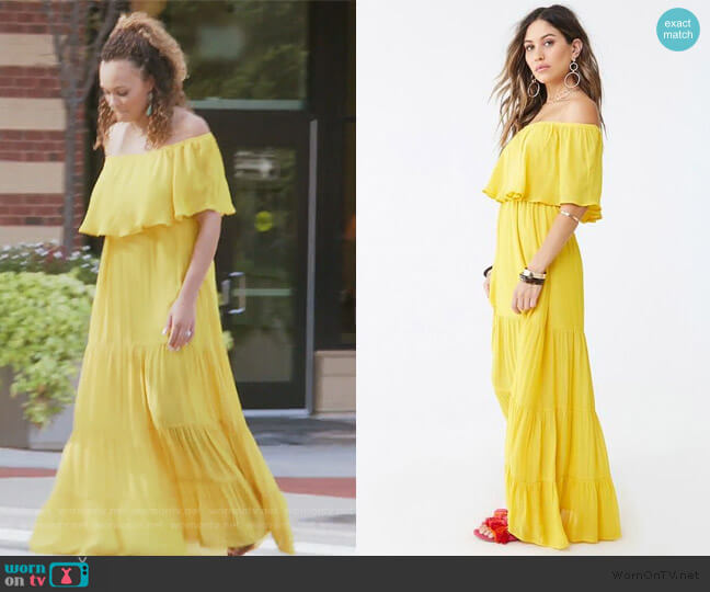 Off the Shoulder Maxi Dress by Forever 21 worn by Ashley Darby  on The Real Housewives of Potomac