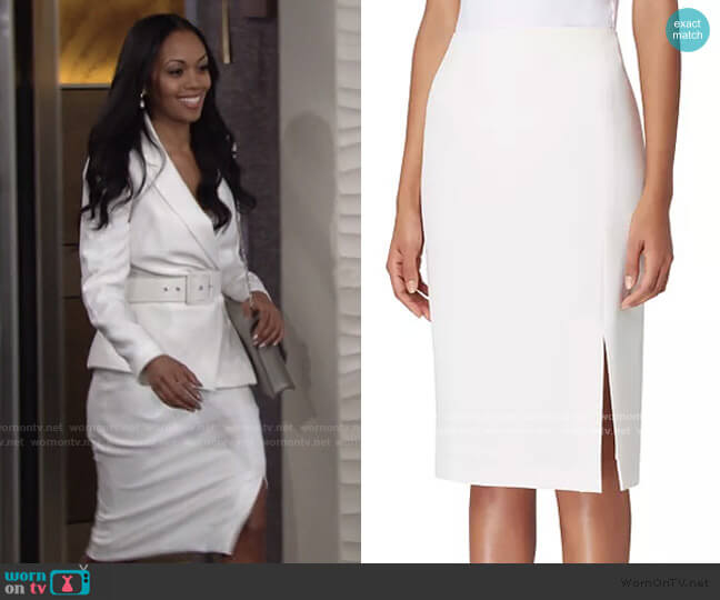 Front-Slit Crepe Pencil Skirt by Tahari ASL worn by Amanda Sinclair (Mishael Morgan) on The Young & the Restless