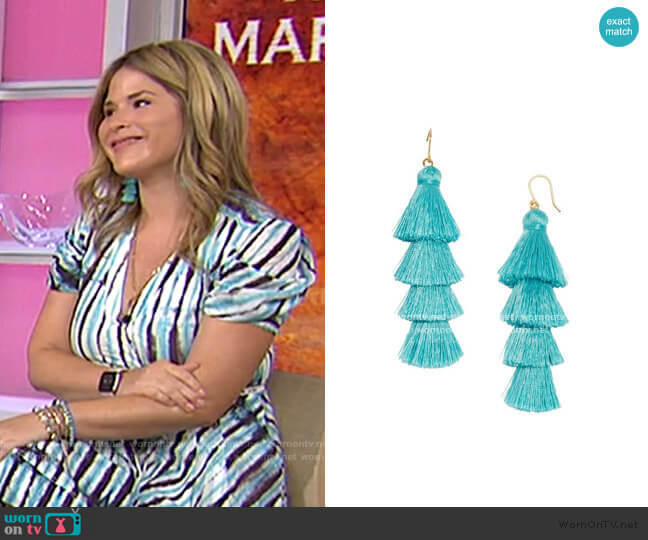 Gabriela Fringe Drops in Turquoise by Baublebar worn by Jenna Bush Hager  on Today