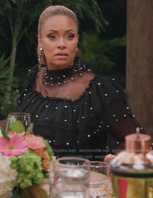 Gizelle's black tulle pearl embellished top on The Real Housewives of Potomac