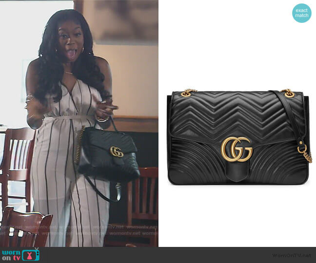 GG Marmont large shoulder bag by Gucci worn by Wendy Osefo  on The Real Housewives of Potomac