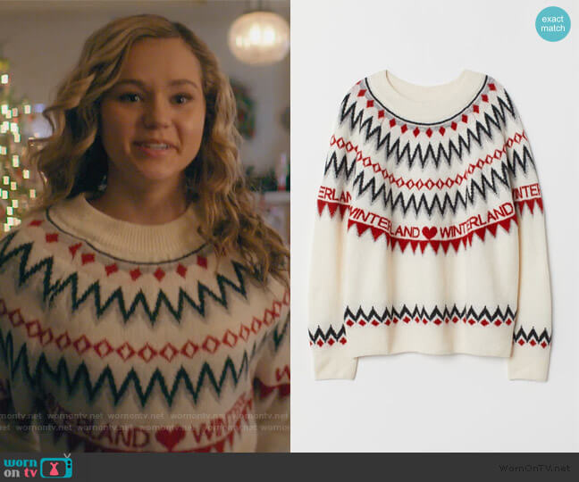 Jacquard-knit Sweater by H&M worn by Courtney Whitemore (Brec Bassinger) on Stargirl