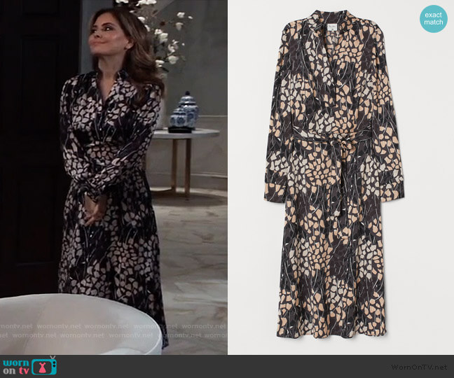 Satin Dress with Tie Belt by H&M worn by Olivia Falconeri (Lisa Lo Cicero) on General Hospital