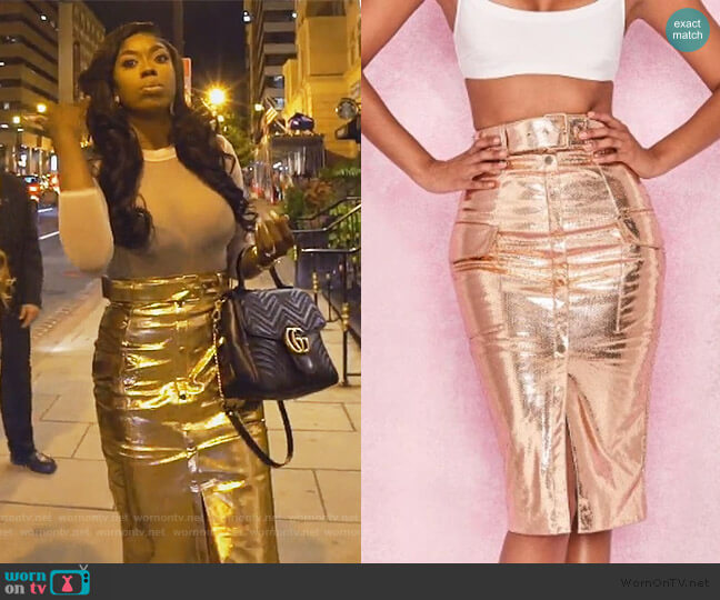 Gold Metalic Vegan Leather Skirt by House of CB worn by Wendy Osefo  on The Real Housewives of Potomac