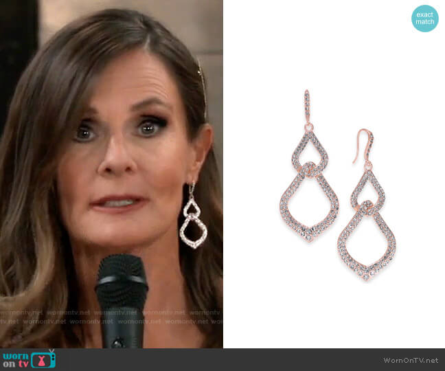 INC International Concepts Pavé Interlocking Linear Drop Earrings worn by Lucy Coe (Lynn Herring) on General Hospital